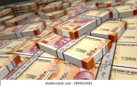 Indian rupee money pack 3d illustration. 200 INR banknote bundle stacks. Concept of finance, cash, economy crisis, business success, recession, bank, tax and debt in India.