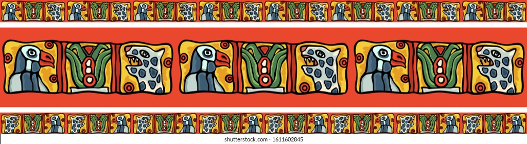 Indian South American Maya or Aztec colorful national style border ornament. Birds, leopards, eagles, cactus motifs in ethnic style. Simple colorful raster stock illustration