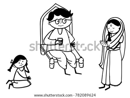 Indian Stick Figure Family Stock Illustration Royalty Free Stock