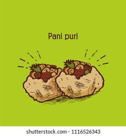 indian street food. pani puri or golgappa