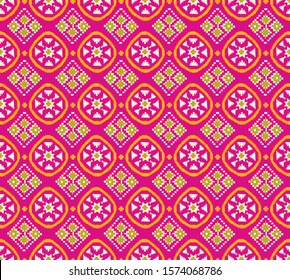 Indian Style Patola Ornament Round Pattern with Seamless Pattern