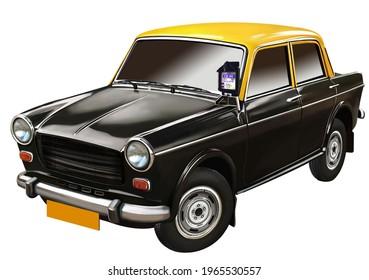 Indian taxi. Mumbai Kaali-Peeli taxi