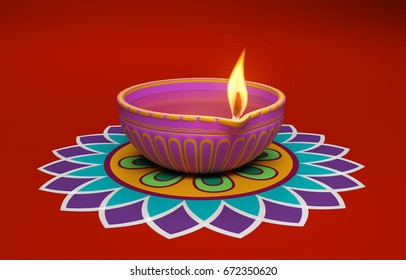 Indian Traditional Oil Lamp with Kolam Design  - 3D Rendered Image