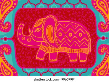 Indian traditional ornament with the  elephant