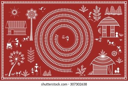 Indian tribal Painting. Warli Painting of daily activities in village