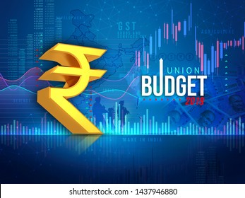 Indian union budget 2019, Indian economy, finance, blue abstract background, illustration, 3D rendering