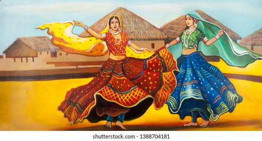 Indian Village women folk dance on decorative texture background art painting.Bright Textured artwork