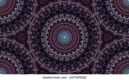 Indian watercolor colorful symmetrical pattern for textile, porcelain ceramic tiles, design. Vintage decorative element with mandala. Hand drawn background. Islam, arabic, india, ottoman motifs.