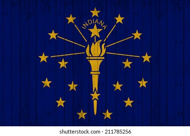 Indiana flag with wood background