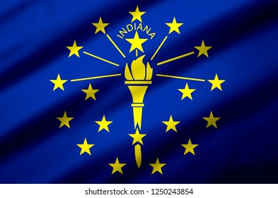 Indiana modern and realistic closeup 3D flag illustration. Perfect for background or texture purposes.