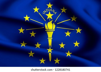 Indiana modern and realistic closeup flag illustration. Perfect for background or texture purposes.