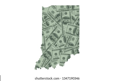 Indiana State Map and Money Concept, Hundred Dollar Bills
