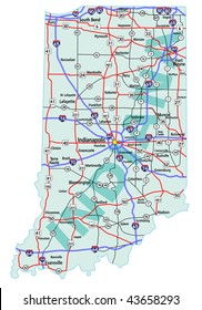 Indiana state road map with Interstates, U.S. Highways and state roads. All elements on separate layers for easy editing.