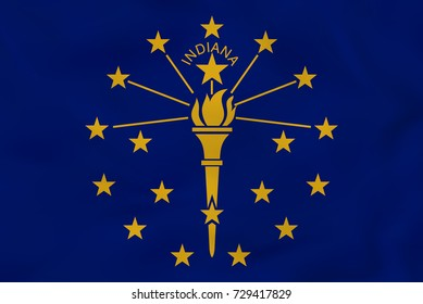Indiana waving flag. Indiana state flag background texture. Raster copy.