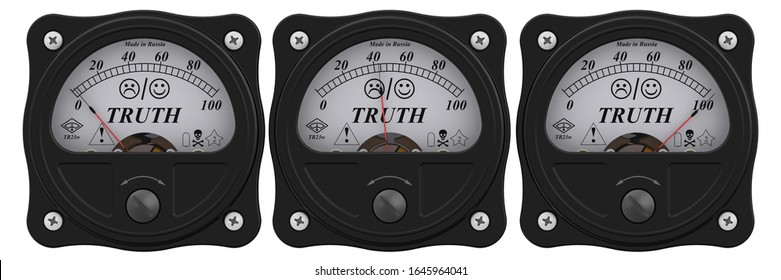 Indicator of truth. Set of black analog indicators showing the level of TRUTH in percentage. 3D illustration