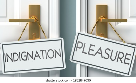 Indignation and pleasure as a choice - pictured as words Indignation, pleasure on doors to show that Indignation and pleasure are opposite options while making decision, 3d illustration