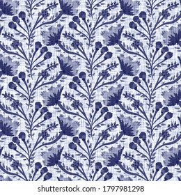 Indigo blue flower block print damask dyed linen texture background. Seamless woven japanese repeat batik pattern swatch. Floral organic distressed block print all over textile.