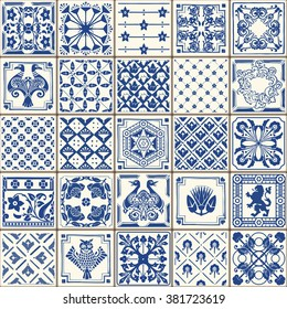Indigo Blue Tiles Floor Ornament Collection. Gorgeous Seamless Patchwork Pattern from Colorful Traditional Painted Tin Glazed Ceramic Tilework.Vintage Portuguese Illustration.template background image
