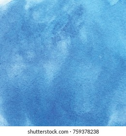 Indigo Blue Watercolor Background Artistic abstract grunge hand painted texture with color splashes and strokes for scrapbooking and romantic design