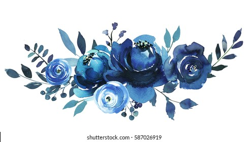 Indigo blue  watercolor floral bouquet.