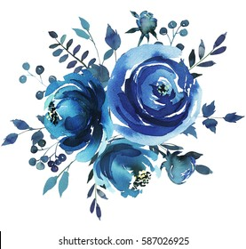 Indigo blue  watercolor hand painted floral bouquet round.