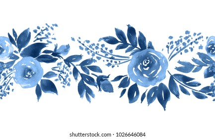 Indigo blue watercolor roses. Seamless floral horizontal pattern