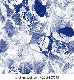 Indigo cyanotype dyed effect distressed worn bleached graphical motif. Noisy brushed faded mottled, intricate grungy stained navy design. Seamless repeat raster jpg pattern swatch.