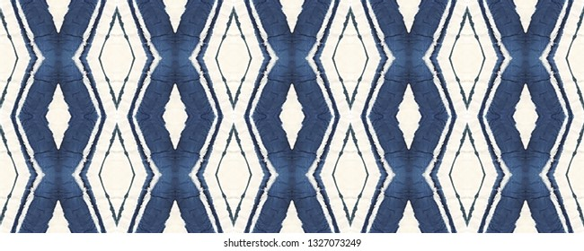 Indigo Ethnic decorative tapestry. Tie dye Seamless Pattern. Watercolor chevron striped tile with rhombuses, triangles.    Ornate ikat print. Boho shibori batik repeat. Trendy colored tie dye pattern