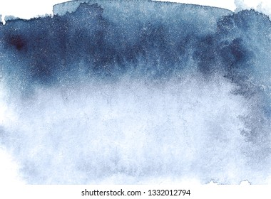 Indigo hand drawn watercolor dark blue horizontal background - invitations, posters, cards template - indigo blue wet paint backdrop.