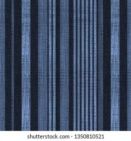 indigo, navy colored modern retro vertical stripes on natural linen textures  background with  vintage effect . Lines Grunge Pattern for Linen, Fabric, Wallpaper. Trendy illustration background
