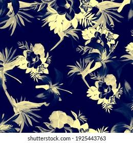 Indigo Pattern Art. Cobalt Tropical Vintage. Navy Floral Plant. White Flora Textile. Gray Decoration Exotic. Azure Wallpaper Botanical. Blue Spring Art.