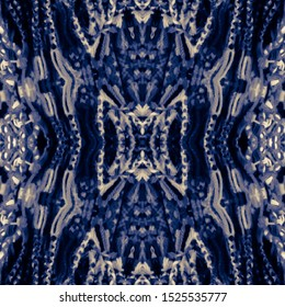 Indigo seamless ethnic tiles. Blue Ikat spanish tile pattern. Italian majolica. Mexican puebla talavera. Decorative monochrome tile pattern design.Tiled texture for kitchen,bathroom flooring ceramic.
