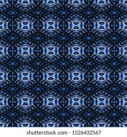 Indigo seamless portuguese ethnic tiles azulejos. Blue ikat spanish tile pattern. Italian majolica. Mexican puebla talavera. Moroccan,Turkish floor tiles.Ethnic tile design.Tiled texture for flooring.