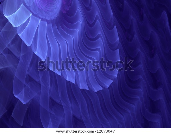 Indigo Smoke Ribbon Ripples - Fractal Illustration