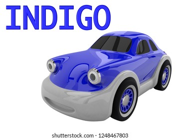 Indigo toy car and an inscription with the name of the color. Isolated on white background. 3D render