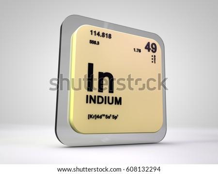 Indium Chemical Element Periodic Table 3 D Stock Illustration