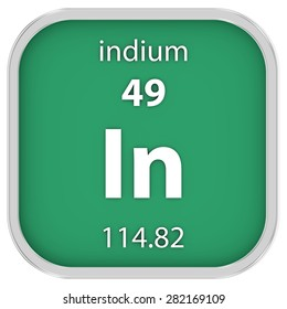 Indium material on the periodic table. Part of a series.