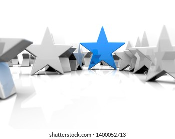 Individual concept with stars. 3D rendering
