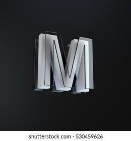 individual letter m part of a 3d designed stylish alphabet on a black