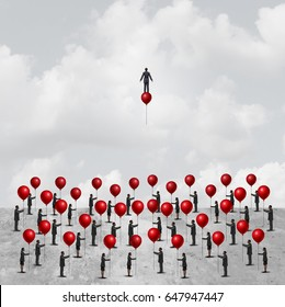 Individual thinking business concept as a group of people on the ground holding balloons with one innovative businessman on a balloon as an individuality metaphor with 3D illustration elements.