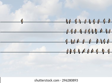 Individuality symbol and independent thinker concept and new leadership concept or individuality as a group of pigeon birds on a wire with one individual in the opposite direction as a business icon.