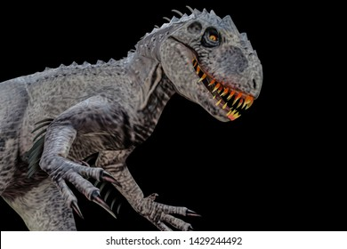 indominus rex isolated on black background 3d illustration