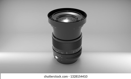 Indonesia - 3 March 2019: Carl Zeiss Distagon T* 2,8/25 ZF wide angle camera lens in 3D rendering illustration view