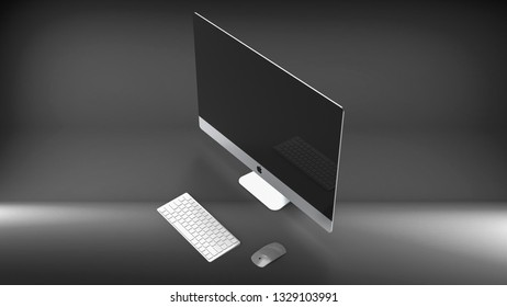 Indonesia - 4 March 2019: iMac 27 inches 5K Retina , Apple computer product 3D render illustration