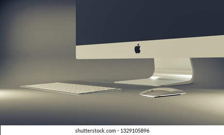"""Indonesia - 4 March 2019: iMac 27"""" 5K Retina with keyboard and magic mouse, Apple computer product 3D render illustration"""