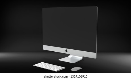 "Indonesia - 4 March 2019: iMac 27"" 5K Retina display set, Apple computer product 3D render illustration with dark background"