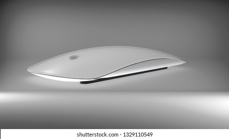 Indonesia - 4 March 2019: Magic mouse 2 close up view, Apple computer product 3D render illustration