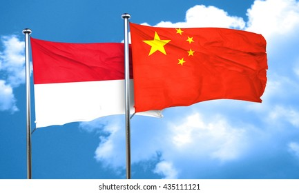 Indonesia flag with China flag, 3D rendering