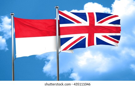 Indonesia flag with Great Britain flag, 3D rendering