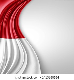 Indonesia flag of silk with copyspace for your text or images and White background-3D illustration